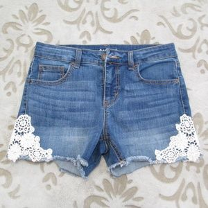Cat & Jack Girls Denim Shorts with Lace Design